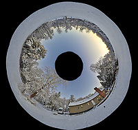 Snowy Backyard Inverse Little Planet Panorama. Composite of 22 images taken with a Leica T camera and 11-23 mm wide-angle zoom lens (ISO 200, 15 mm, f/5.6, 1/30 sec). Raw images processed with Capture One Pro and AutoPano Giga Pro.