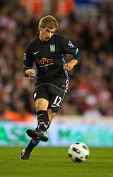 STOKE, ENGLAND - Monday, September 13, 2010: Aston Villa's Marc Albrighton in action against Stoke City during the Premiership match at the Britannia Stadium. (Photo by David Rawcliffe/Propaganda)