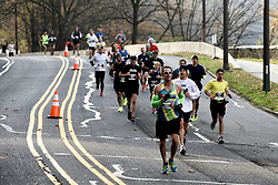 19th Philadelphia Marathon. November 18, 2012 -  Kelly Dirve, Philadelphia, PA;  <br /> <br /> A group of recreational runners is seen on Kelly Drive heading towards Manayunk.