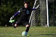 Rice goalie Leland Gazo (0) kicks the ball down the field during the boys soccer game between the The Burlington Seahorses and the Rice Green Knights at Rice Memorial high School on Tuesday afternoon September 15, 2015 in South Burlington, Vermont. (BRIAN JENKINS/for the FREE PRESS)