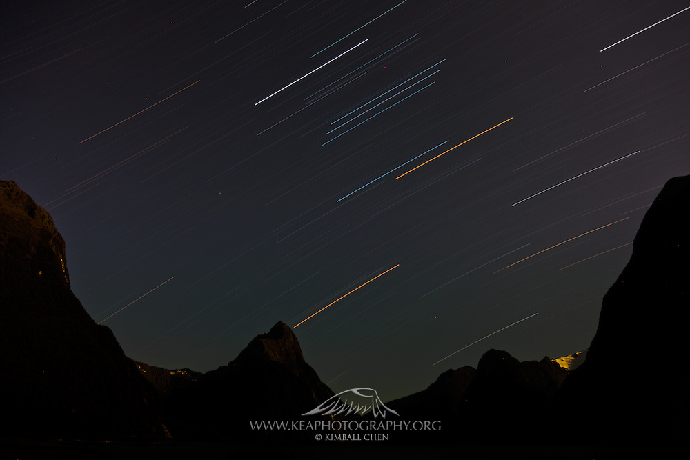 Star Trails over Mitre Peak, Milford Sound.  One-hour exposure.