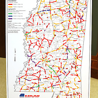 Adam Robison | BUY AT PHOTOS.DJOURNAL.COM<br /> A statewide map of Mississippi showing details of road work projects that need to be adressed on a state wide map of unfunded highway projects from a press conference held by Mike Tagert, Mississippi Transportation Commissioner Thursday morning in Tupelo.