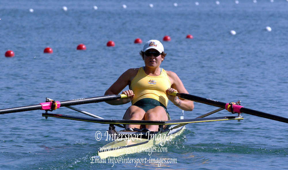 2004_Junior_Non_Olympics_Worlds_Lake Banyoles_Spain.28.07.2004 Wednesday. Photo  Peter Spurrier .email images@intersport-images.com.Tel +44 7973 819 551 .AUS JW1X Sally Kehoe. Rowing Course: Lake Banyoles, SPAIN . [Mandatory Credit: Peter Spurrier: Intersport Images].