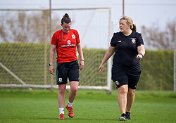 LARNACA, CYPRUS - Thursday, March 1, 2018: Wales' Helen Ward walks off with an injury with Hillary Gannon during a training session in Larnaca on day three of the Cyprus Cup tournament. (Pic by David Rawcliffe/Propaganda)