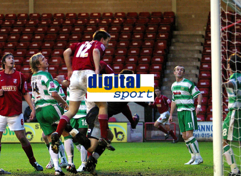 Photo: Dave Linney.<br />Walsall v Yeovil Town. The FA Cup. 03/12/2005.<br />Matty Fryatt(Walsall) sees his header go just inches wide of the goal.