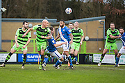 Forest Green's David Pipe heads clear during the Vanarama National League match between Forest Green Rovers and Eastleigh at the New Lawn, Forest Green, United Kingdom on 20 February 2016. Photo by Shane Healey.