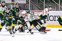 2019-11-24 | Umeå, Sweden: Björklöven (79) Emil Lundberg looking for a mate to pass in HockeyAllsvenskan during the game  between Björklöven and Kristianstad at A3 Arena ( Photo by: Michael Lundström | Swe Press Photo )<br /> <br /> Keywords: Umeå, Hockey, HockeyAllsvenskan, A3 Arena, Björklöven, Kristianstad, mlbk191124