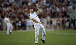 Texas A&M Yell Leaders lead the crowd at Kyle Field before the start of an NCAA college football game between South Carolina and Texas Saturday, Sept. 30, 2017, in College Station, Texas. (AP Photo/Sam Craft)