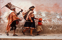 blind harpist and his wife and daughter, Cusco, Peru