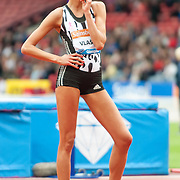 Former world champion Blanka Vlasic (CRO) poses after the successful clearance that won her the womens high jump competition. Action from the IAAF Diamond League Athletics at Hampden Park in Glasgow, 12 July 2014. (c) Paul J Roberts / RobertsSports
