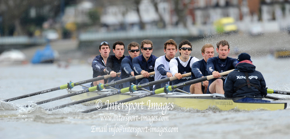 Putney, London, Oxford Blue Boat, morning training session on the Championship Course,  River Thames Varsity, University Boat Race, Tideway Week, Friday  02/04/2010, [Mandatory Credit Peter Spurrier/ Intersport Images] ..OUBC crew, Bow - Ben MYERS, Martin WALSH, Tyler WINKLEVOSS, Cameron WINKLEVOSS, Sjoerd HAMBURGER, Matt EVANS, Simon GAWLIK, Stroke - Charlie BURKITT and Cox - Adam BARHAMAND