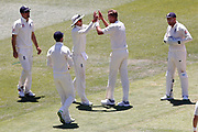 Stuart Broad celebrates the wicket of Jackson Bird during the Magellan fourth test match between Australia v England at  the Melbourne Cricket Ground, Melbourne, Australia on 26 December 2017. Photo by Mark  Witte.