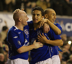 Liverpool, England - Wednesday, December 5, 2007: Everton's Tim Cahill celebrates scoring the only goal of the game against Zenit St. Petersburg with team-mate Lee Carsley (L) and James Vaughan (R) during the UEFA Cup Group A match at Goodison Park. (Photo by David Rawcliffe/Propaganda)