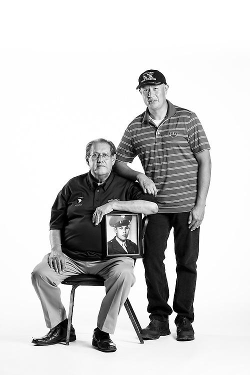 Roberto Trevino, Jr. <br /> Army<br /> E-5<br /> 12N, 74D<br /> June 2003 - Present<br /> OIF<br /> <br /> Roberto Trevino, Sr. <br /> Army<br /> E-5<br /> Infantry<br /> Oct. 14, 1967 - Oct. 19, 1969<br /> Vietnam<br /> <br /> <br /> Veterans Portrait Project<br /> San Antonio, TX