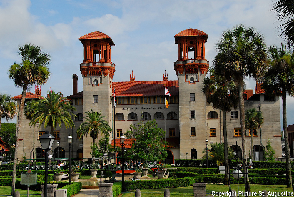 St. Augustine City Hall - The Lightner Museum bathed in sunlight on a summer afternoon.