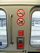 No eating and smoking sign in a new subway wagon.