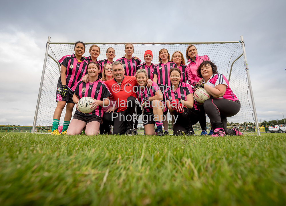 13-7-17<br /> The Ladies football team pictured at Conahy Shamrocks.<br /> <br /> Back from left Rochelle Gonzales, Trish Tallis, Marion O'Dornan, Bridget Rhatigan, Hilda Butler, Joanne Lawlor, Miriam Mulhall and Ann Cahill.<br /> <br /> Front from left Sandra Walsh, Breeda Kavanagh, Nicky Maher (coach), Catherine Kennedy, Claire Holohan and Pauline Harding.<br /> <br /> Picture Dylan Vaughan.