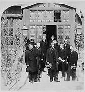 A group of foreign ministers standing outside the entrance to the Spanish Legation in Beijing, China, circa March 1901.