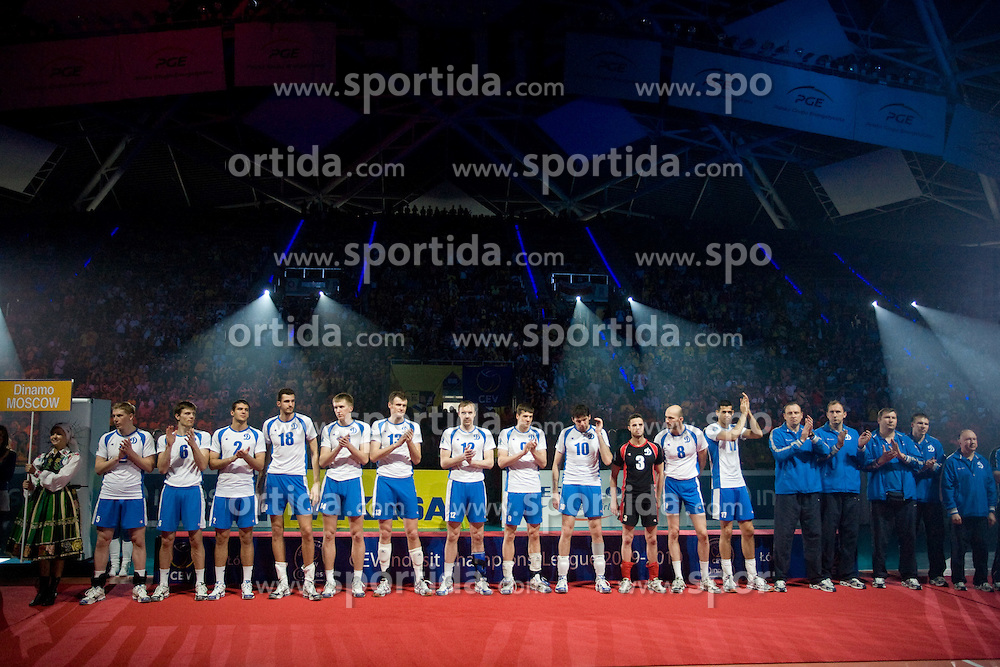 Team of Dinamo at final ceremony after the final match of CEV Indesit Champions League FINAL FOUR tournament between Dinamo Moscow, RUS and Trentino BetClic, ITA on May 2, 2010, at Arena Atlas, Lodz, Poland. Trentino defeated Dinamo 3-0 and became Winner of the Champions League. (Photo by Vid Ponikvar / Sportida)