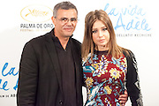 """Abdellatif Kechiche and Adèle Exarchopoulos  attending the opening """"La vie d'Adèle"""" in Madrid."""