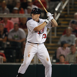 February 27, 2011; Fort Myers, FL, USA; Minnesota Twins first baseman Chris Parmelee (83) during a spring training exhibition game against the Boston Red Sox at Hammond Stadium.  Mandatory Credit: Derick E. Hingle