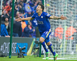 LEICESTER, ENGLAND - Saturday, February 27, 2016: Leicester City's Leonardo Ulloa celebrates scoring the first goal against Norwich City during the Premier League match at Filbert Way. (Pic by David Rawcliffe/Propaganda)
