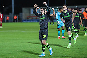Forest Green Rovers Jack Aitchison(29), on loan from Celtic celebrates with the fans at the end of the match during the EFL Sky Bet League 2 match between Morecambe and Forest Green Rovers at the Globe Arena, Morecambe, England on 22 October 2019.