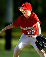 Zach Lach takes a bad bounce to the forehead as his 10-under Frankenmuth travel team competes against Mayville in the 10U Frankenmuth Baseball tournament at Heritage Park. The runner was safe at first and Lach remained in the game.