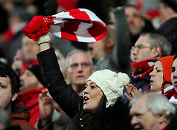 Bristol City fans wave scarves  - Photo mandatory by-line: Joe Meredith/JMP - Mobile: 07966 386802 - 07/02/2015 - SPORT - Football - Milton Keynes - Stadium MK - MK Dons v Bristol City - Sky Bet League One