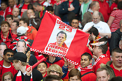 LIVERPOOL, ENGLAND - Sunday, May 19, 2013: A Liverpool with a Jamie Carragher flag as the Reds' captain makes his 737th and final appearance for the club during the final Premiership match of the 2012/13 season against Queens Park Rangers at Anfield. (Pic by David Rawcliffe/Propaganda)