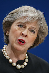 October 2, 2016 - Birmingham, West Midlands, UK - Birmingham, UK. Prime Minister THERESA MAY speaks at Conservative Party Conference at International Conference Centre in Birmingham on Sunday, 2 October 2016, the fist day of the conference. (Credit Image: © Tolga Akmen/London News Pictures via ZUMA Wire)