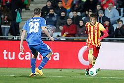 16.01.2014, Coliseum Alfonso Perez, Getafe, ESP, Copa del Rey, FC Getafe vs FC Barcelona, Achtelfinale, Rueckspiel, im Bild Getafe´s Vigaray (L) and Barcelona´s Neymar // Getafe´s Vigaray (L) and Barcelona´s Neymar during the last sixteen 2nd leg match of Spanish Copa del Rey between Getafe CF and Barcelona FC at the Coliseum Alfonso Perez in Getafe, Spain on 2014/01/16. EXPA Pictures © 2014, PhotoCredit: EXPA/ Alterphotos/ Victor Blanco<br /> <br /> *****ATTENTION - OUT of ESP, SUI*****