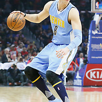 24 February 2016: Denver Nuggets forward Danilo Gallinari (8) dribbles during the Denver Nuggets 87-81 victory over the Los Angeles Clippers, at the Staples Center, Los Angeles, California, USA.