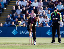 Lewis Gregory of Somerset in action today <br /> <br /> Photographer Simon King/Replay Images<br /> <br /> Vitality Blast T20 - Round 1 - Glamorgan v Somerset - Thursday 18th July 2019 - Sophia Gardens - Cardiff<br /> <br /> World Copyright © Replay Images . All rights reserved. info@replayimages.co.uk - http://replayimages.co.uk