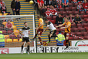 Louis Moult attacks the Aberdeen goal during the Ladbrokes Scottish Premiership match between Motherwell and Aberdeen at Fir Park, Motherwell, Scotland on 15 August 2015. Photo by Craig McAllister.