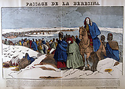 Napoleon's Grande Armee retreating from Russia across the Beresina, 26-28 November 1812.  19th French popular hand-coloured woodcut.