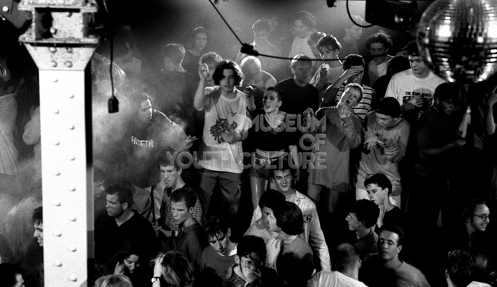 Ravers on the main stage in the Hacienda, Manchester, 1989