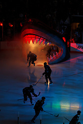 March 31, 2011; San Jose, CA, USA;  The San Jose Sharks enter the ice before the game against the Dallas Stars at HP Pavilion. Mandatory Credit: Jason O. Watson / US PRESSWIRE