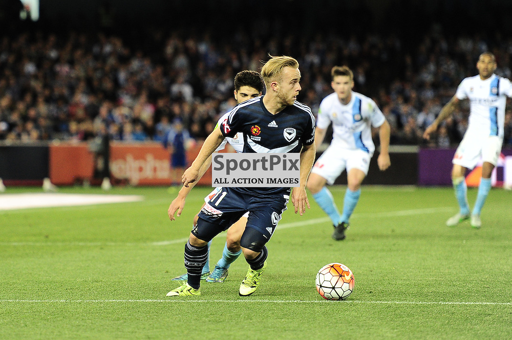 "Connor Pain of Melbourne Victory - Hyundai A-League - October 17th 2015 - ROUND 2- Melbourne Victory FC v Melbourne City FC in the first derby for the 2015 season with a 3:2 win to Victory on the 90"" - © Mark Avellino 