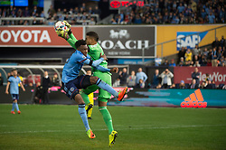 November 5, 2017 - Bronx, New York, U.S - New York City FC defender RODNEY WALLACE (23) collides with Columbus Crew goalkeeper ZACK STEFFEN (23) in the second half during leg 2 of the Eastern Conference Semifinal at Yankee Stadium, Bronx, NY.  NYCFC defeats Columbus Crew 2-0.  Columbus wins 4-3 on aggregate. (Credit Image: © Mark Smith via ZUMA Wire)