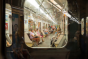 View from one subway car through the window to a second car on the metro in Budapest, Hungary.