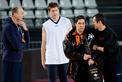 Jure Zdovc, Vladimer Boisa, Saso Filipovski and Miro Alilovic during practice session of basketball club KK Union Olimpija day before Euroleague Top 16 Round Match vs Lottomatica Roma, on January 19, 2011 in Arena PalaLottomatica, Rome, Italy. (Photo By Vid Ponikvar / Sportida.com)