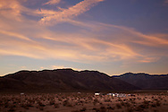 People enjoying the full-time RV life while camping off the grid in Anza Borrego State Park, California.