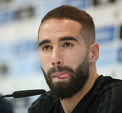 August 15, 2017 - Madrid, Spain - Real Madrid's defender Dani Carvajal speaks during a press conference at Real Madrid sports city in Madrid on August 15, 2017, on the eve of the Spanish SuperCup second leg football match Real Madrid CF vs FC Barcelona. (Credit Image: © Raddad Jebarah/NurPhoto via ZUMA Press)