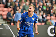 Leicester Citys Marc Albrighton celebrates during the Barclays Premier League match between Southampton and Leicester City at the St Mary's Stadium, Southampton, England on 17 October 2015. Photo by Adam Rivers.
