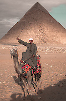 Camel driver in front of Chephren's Pyramid in Giza, Egypt.