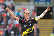 Wicket - Max Waller of Somerset celebrates taking the wicket of Delray Rawlins of Sussex during the Vitality T20 Finals Day Semi Final 2018 match between Worcestershire Rapids and Lancashire Lightning at Edgbaston, Birmingham, United Kingdom on 15 September 2018.