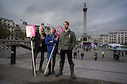 Tristram Stuart &amp; Thomasina Miers &amp; Sara Cox pose at Trafalgar Square on November 21st 2013.<br /> <br /> Top British chefs cook free lunch for all at The Pig Idea Feast <br /> In support of campaign to put food waste back on the menu for pigs in the UK<br />  12 noon to 4pm on 21st November 2013, in Trafalgar Square, London<br /> <br /> Top chefs and award winning restaurants will be cooking up a piggy-licious lunch at The Pig Idea Feast, between 12 noon to 4pm, on Thursday 21st November, in Trafalgar Square, London, in a bid to get food waste back on the menu for pigs in the UK.  Hugh Fearnley-Whittingstall, Thomasina Miers, Valentine Warner and DJ Sara Cox will be among the big names making dishes in support of the campaign.<br /> <br /> Members of the public will be able to turn up and enjoy a free lunch prepared by famous chefs from top London restaurants &ndash; Wahaca, Bistrot Bruno Loubet, Cabana, The Delaunay, Paternoster Chop House, Le Pont de la Tour and Soho House &ndash; with an array of dishes from Braised Pig&rsquo;s Cheeks to Pork Belly Pizza. <br /> 13.<br /> <br /> Photo Ki Price for Greenhouse PR