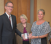 From left: Joseph Shields, Vice President for Research & Creative Activity and Dean of Ohio University's Graduate College along with Pam Benoit, Executive Vice President and Provost, name Nancy Stevens as one of five Presidential Research Scholars during the 2016 Faculty Awards Recognition Ceremony held at Baker Center on Tuesday, September 6, 2016.