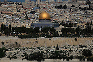 The view of the Old City of Jesusalem showing the Dome of The Rock from Mount of Olives<br /> Photo by Dennis Brack